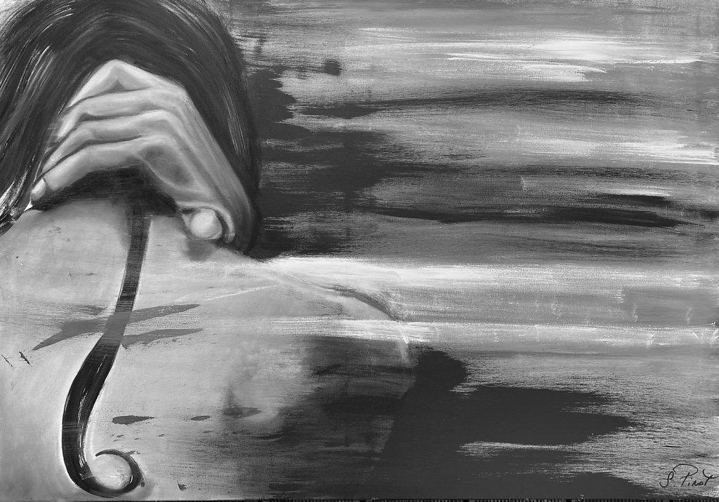 """""""La houle, le ressac"""", huile sur toile 100*70 cm"""